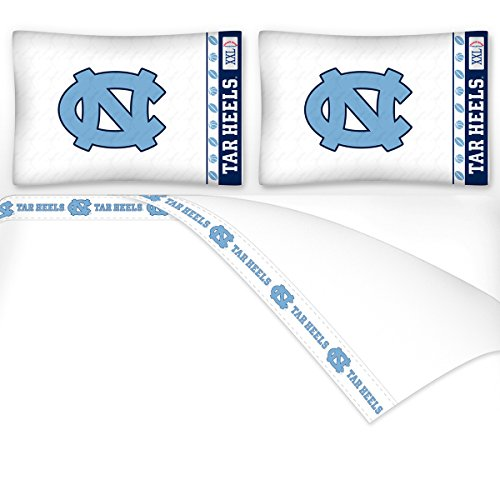 Sports Coverage NCAA North Carolina Tar Heels Micro Fiber Sheet Set, King, White ()