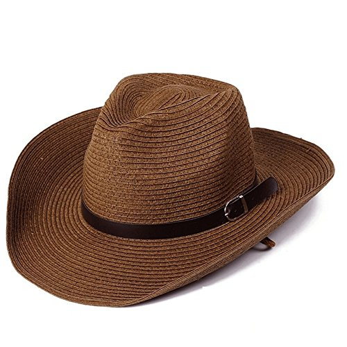 - Summer Men Straw Cowboy Hat Outdoor Sun Protection Sun Hat-Natural Roll, One Size fits Most (Coffee)