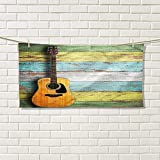 Music luxury hand towels Acoustic Guitar on Colorful Painted Aged Wooden Planks Rustic Country Design Printgym hand towels Multicolor