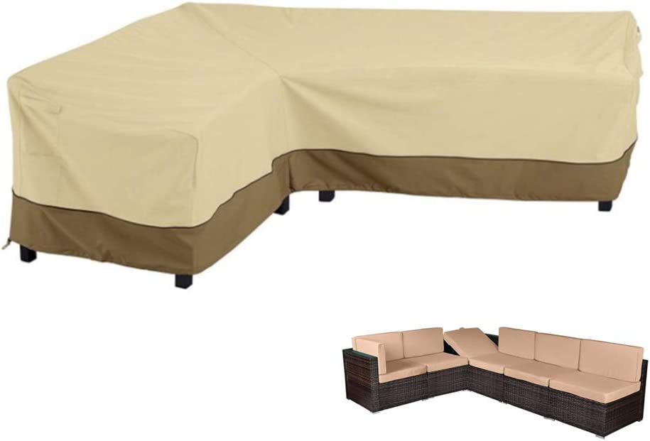 """LBW L Shape Patio Sofa Cover, Waterproof Sectional Sofa Couch Covers Left Facing Sectional Furniture Cover Patio Garden Couch Covers for Outdoor, 83""""/104""""x 32""""x31"""" Beige&Coffee"""