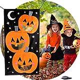 Hokic Halloween Decorations Felt Pumpkin Bean Bag Toss Games with 3 Bean Bags Halloween Games for Kids Party Supplies