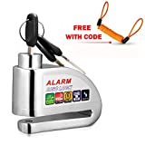 Alarm Disc Lock With Bag,COOCHEER Scooter Disc Lock Anti Theft 110db Motorcycle Alarm Lock in Water Resistant Design
