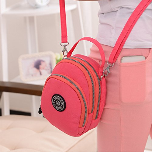 Nylon Water Layers Cell TianHengYi for Pouch Cross Pink Handbag Purse Small body Phone Teens Three Resistant 585zRtxwq