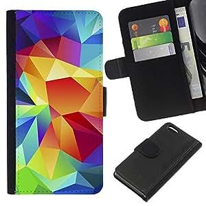 All Phone Most Case / Oferta Especial Cáscara Funda de cuero Monedero Cubierta de proteccion Caso / Wallet Case for Apple Iphone 5C // Crystal Art Colors Structure Art Painting