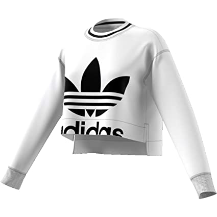 Sweatshirt Femme Adidas Cropped White: : Vêtements