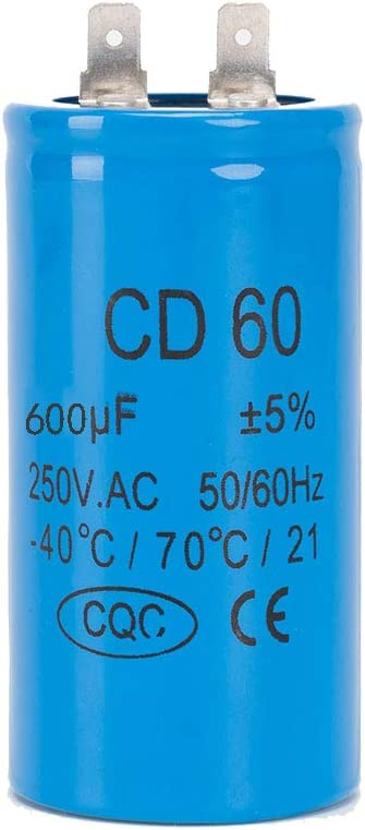 ICQUANZX 600UF CD60 Single Blade Motor Car Washing Machine Capacitor with Wire Lead 450V 50/60Hz for Start-up of AC Motors with Frequency of 50Hz/60Hz,Such As Air Conditioners and Motors