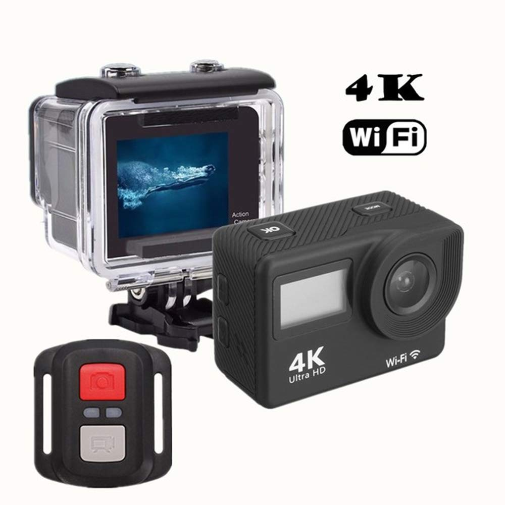 "MRDEER Action Cam WiFi Sports Kamera 4K 30FPS Ultra HD 2"" LCD Dual Display 16MP Action Kamera Helmkamera Unterwasserkamera 30M Wasserdicht,2.4G Fernbedienung,mit 18 Accessoires"