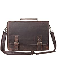 S-ZONE Oversized Men's Crazy Horse Leather Business Briefcase shoulder laptop Bag (Brown)