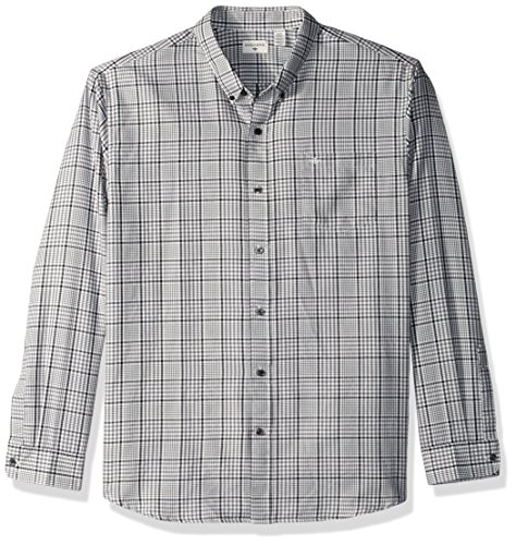 Dockers Men's Twill Long Sleeve Button Front Shirt, Burma Grey Gingham, X-Large (Front Gingham Shirt)
