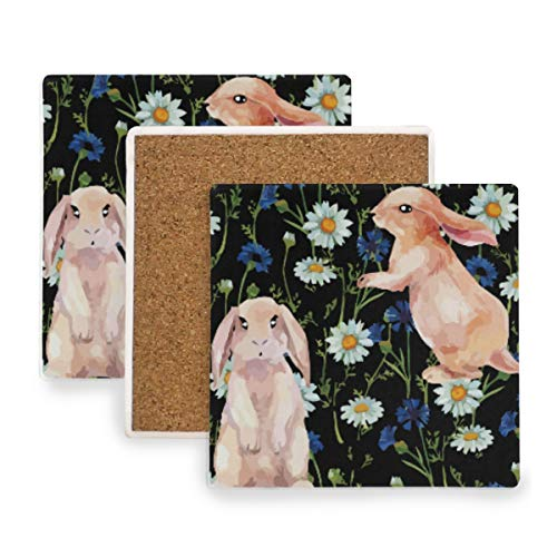 - Bunny Rabbit Floral Flower Ceramic Coasters for Drinks,Square 4 Piece Coaster Set