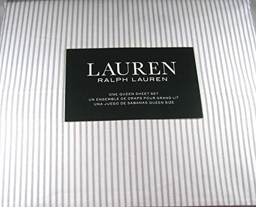4 Pc Queen Striped Sheet Set 100% Cotton Gray and White