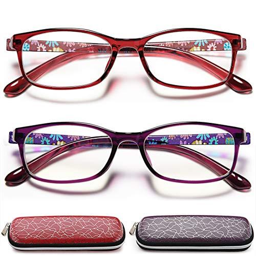 Reading Glasses Women Blue Light Blocking - 2 Pairs Better Sleep Night Time Screen Anti Glare Lens Reading Glasses +3.0