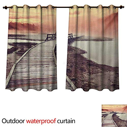 Geyser Diamond - WilliamsDecor Yellowstone Outdoor Curtain for Patio Wooden Pathway Deck to Steamy Geyser in Yellowstone Park Tourist Attraction Picture W63 x L72(160cm x 183cm)