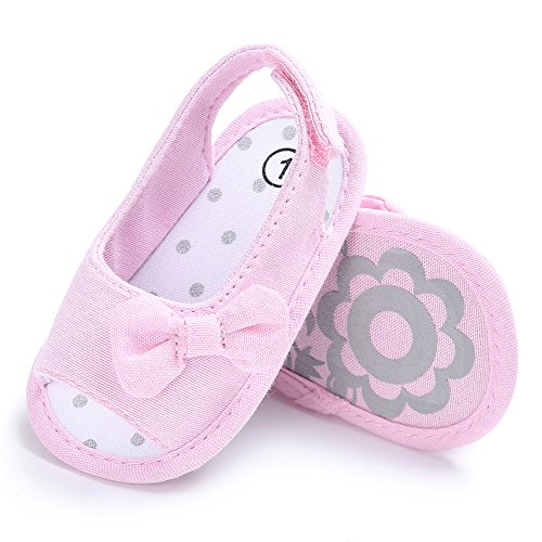 Infant Baby Girl Sandals Anti-Slip Soft Sole Bowknot Canvas Toddler Shoes (11cm/0-6 Months, Pink)