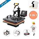 """CO-Z 5 in 1 12"""" X 15"""" Heat Press 360 Degree Swivel Heat Press Machine Multifunction Sublimation Combo T Shirt Press Machine for Mug Hat Plate Cap Mouse Pad 1250W (Basic 5 in 1)"""
