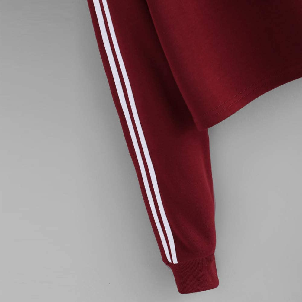 TOPUNDER Striped Hoodie Sweatshirt for Womens Long Sleeve Jumper Hooded Pullover Tops Blouse