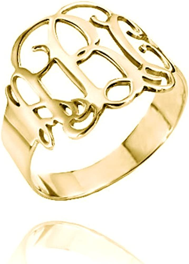 Ouslier 925 Sterling Silver Personalized Monogram Ring Custom Made with 3 Initials