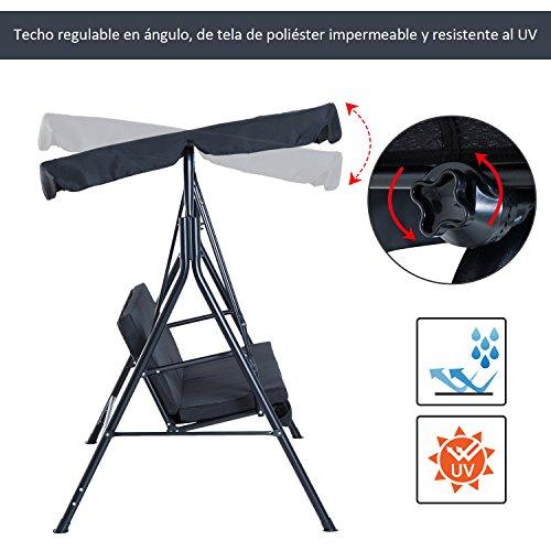 Columpio de Jardín de Metal con Parasol Balancín de 3 Asientos con Cojín y Techo Ajustable (Negro): Amazon.es: Jardín