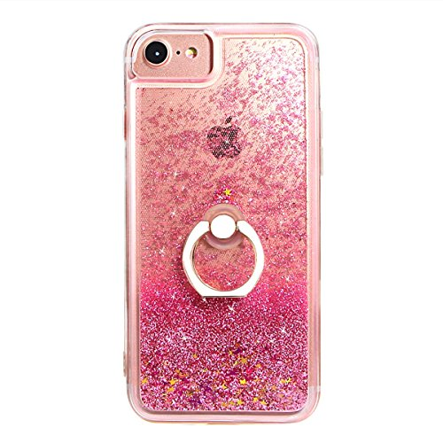 Im That Cute Girl (iPhone 7 8 Liquid Case with Stand - iPhone 6 6s 7 8Clear Case Ultra Thin Luxury Bling Glitter Sparkle Quicksand Cases Cover with Ring Stand Holder for iPhone 6/6s/7/8 (4.7 inch) (Rose Gold))