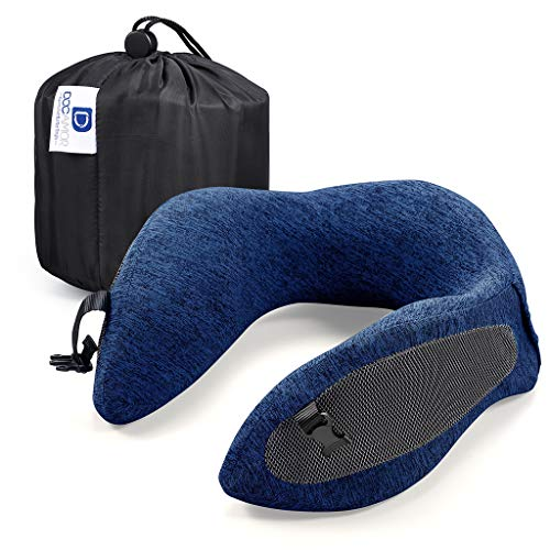 Docamor Memory Foam Travel Neck Pillow, Compact U-Shaped Neck Support Pillow with Easy-to-Carry Bag, Washable Cover and Adjustable Neck Size for Plane Train Car Bus Office Napping, Deep Navy Blue