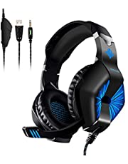 ELEGIANT Gaming Headset, Casque Gaming N3 USB LED Lumière 3.5mm Audio Stéréo Basse Mic Antibruit Jeux Vidéos PS4 PS4 Pro/Slim Xbox One Nintendo Switch Mac Ordinateur PC Tablette Smartephone
