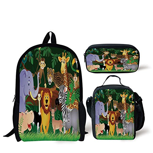 (iPrint School Lunch Pen Bags,Zoo,Animals in the Jungle Funny Expressions Exotic Comic Cheer Natural Habitat Illustration,Multicolor,3 Piece Set)