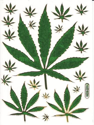 Cannabis Pflanze Aufkleber 20 Teilig 1 Blatt 135 Mm X 100 Mm Sticker Basteln Kinder Party Metallic Look Spielzeug