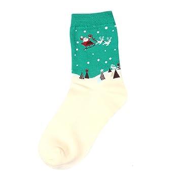 riiya algodón navidad Calcetines David ciervo copos de nieve Papá Noel Hombre y Mujer Calcetines fijo Amor Pares de Calcetines Algodón, c: Amazon.es: ...