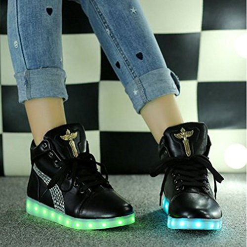 [Present:small towel]JUNGLEST 7 Colors Led Trainers High Top Light Up Black pn7Xpk2Fz