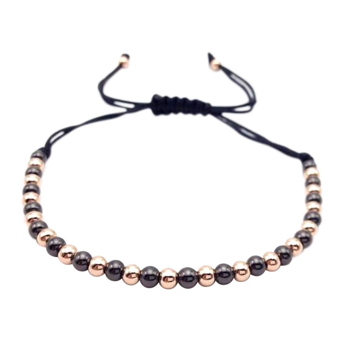 Macrame Braided 4mm Round Copper Beads Bracelet by MayaBracelets (Gun Black & Rose Gold)