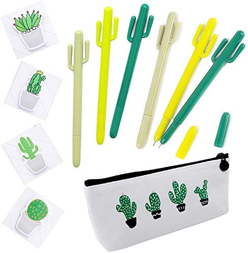 Cactus Ballpoint Pen 11PCS Cute Cool Pens Stationery Set Black Ink Writing Pens with Cactus Canvas Pen Case Pencil Bag Notes Sticker for School Office Home Supply Gift