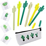 Cactus Ballpoint Pen, 6 pcs Cute Cactus Premium Black Gel Ink Office Writing Pens with Cactus Canvas Pen Case Pencil Bag for School Office Supply Gift Stationery(Cactus Pen set)