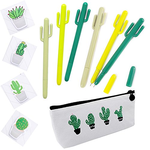 Cactus Ballpoint Pen, 6 pcs Cute Cactus Premium Black Gel Ink Office Writing Pens with Cactus Canvas Pen Case Pencil Bag for School Office Supply Gift Stationery(Cactus Pen set) by wanxing