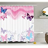 Ambesonne Teen Girls Decor Collection, Flowers and Butterflies Curly Wavy Leaves Insect Summertime Artistic Design, Polyester Fabric Bathroom Shower Curtain, 75 Inches Long, Blue Pink White