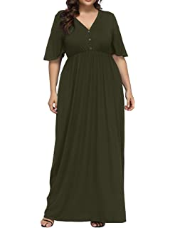 b974a06f29 Allegrace Women s Plus Size V Neck Button up Maxi Dress Bell Sleeve Beach  Long Dresses