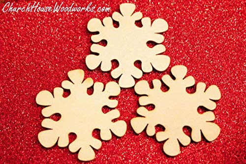 25 Snowflake Wood Christmas Ornaments- DIY Wooden Christmas Crafts To Paint On-2 Inch Snowflakes from Church House Woodworks L.L.C.