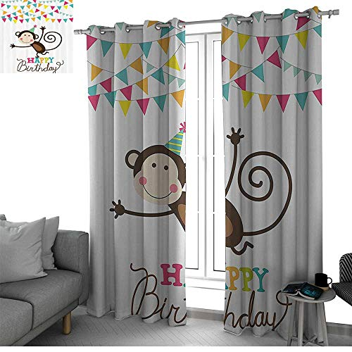 Birthday Decorations for Kids Room Darkening Blackout Grommet Patio Door Curtain Panel Brown Monkey Posing at a Party with Two Line Flags Cone Image window curtains Multicolor W108 x L84 Inch - Jeff Gordon Sheet Set
