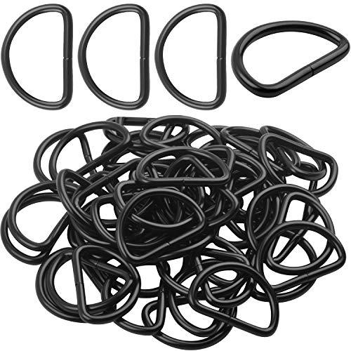 BronaGrand 50pcs 1 inch Metal D Rings Buckles for Straps Ties Belts Bags, Black