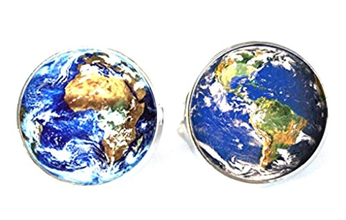 Steampunk – Space Explorer World Map Globe – Men's Cufflinks Cuff Links – earth e1