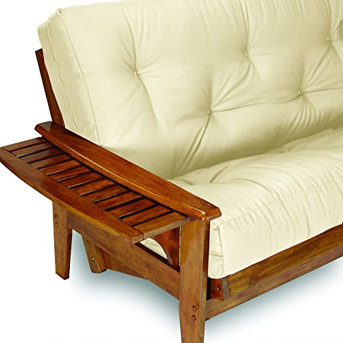 Nirvana Futons Eastridge Futon Set - Queen Size Frame with 8' Mattress Included, Twill Ivory Cover...