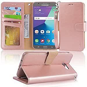 Galaxy J7 V / J7 2017 / J7 Prime / J7 Perx / J7 Sky Pro / Galaxy Halo Case, Arae samsung galaxy J7 2017 wallet Case with Kickstand and Flip cover, Rosegold