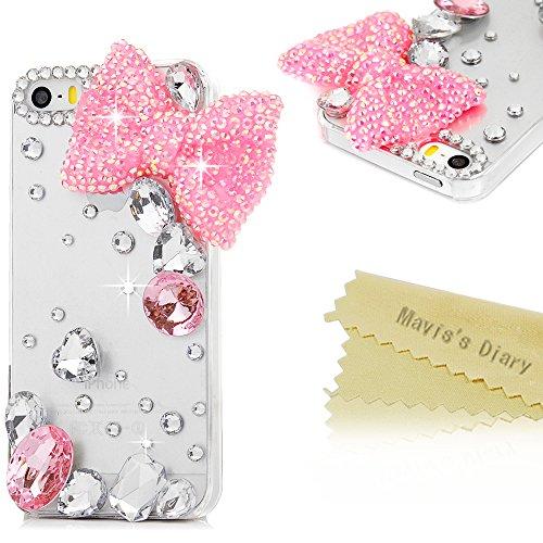 Mavis's Diary Coque iPhone 5/iPhone 5S/iPhone SE Coque en Cuir Transparent Bling Strass Nœud Papillon Housse de Protection Étui Téléphone Portable Phone Case Cover+Chiffon