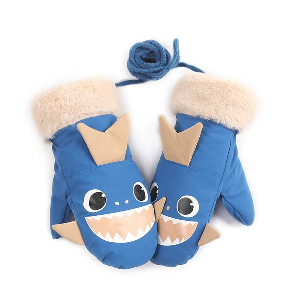 Herbalcandybox 子供用 冬用 暖かい スキーグローブ 男の子/女の子 スポーツ 防水 防風 滑り止め スノーミトン スキーグローブ  Blue - shark B07KK5XHRW