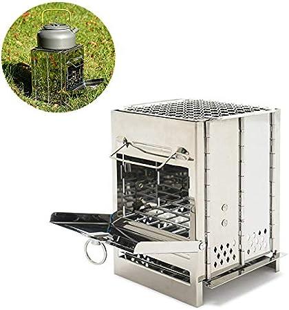 Parrilla al Aire Libre de Acero Inoxidable, Horno de leña Integrado acampa Plegable portátil Mini Barbacoa Madera Ligera Cocina