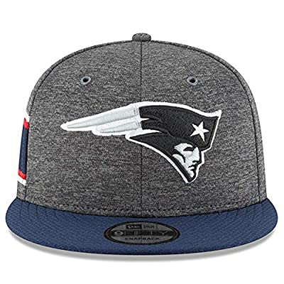 New Era New England Patriots 2018 Sideline Onfield NFL Graphite Charcoal/Navy 9Fifty Snapback Adjustable Hat, OSFM
