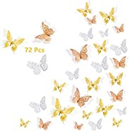 3D Butterfly Wall Stickers, 48 Pcs 4 Styles 3 Sizes, Removable Metallic Wall Sticker Room Mural Decals Decorat