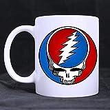 Novelty Design Custom Grateful Dead Music Logo Mug 11 Oz White Coffee Mug Tea Cup Twin Sides Printing-0362