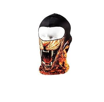 Hillento cara del cráneo al aire libre en bicicleta impresión máscara tocados, fuego (BB