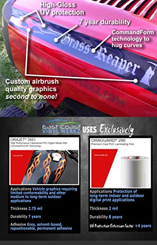 East Coast Vinyl Werkz Hotrod Hood Stripe Flames Lawn Mower Decals Stickers - 2pc Mirrored Set - Funny Decals for John Deere, Murray, Poulan, Craftsman, Husqvarna Lawn mowers. (American Eagle Sunset)