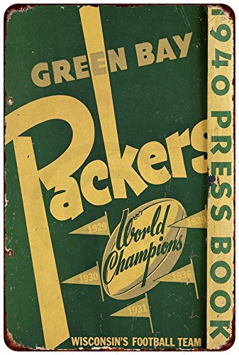 Custom Kraze 1940 Green Bay Packers Press Book Champions Reproduction Metal Sign 8 x 12